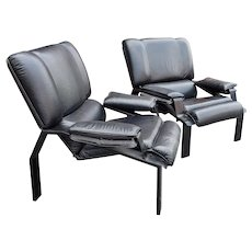 Pair Black Leather LEM Lounge Chair by Joe Colombo for Bieffeplast, 1970s