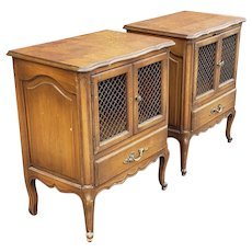 Pair 1970s Walnut French Provincial Bedroom Nightstand Tables