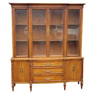 Very Good Italian Provincial 1960s 2 Part Fruitwood Dining Room China Cabinet