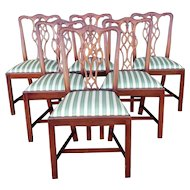 Set 6 Mahogany MCGK Woodwork Inc Chippendale Style Dining Room Side Chairs