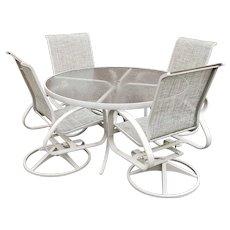"Telescope Casual Aruba II 54"" Aluminum Glass Top Table w/ 4 Swivel Rocker Chairs"