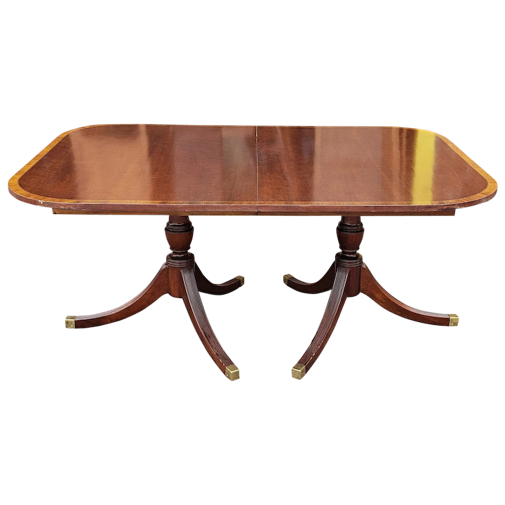 1940s Banded Mahogany Traditional Double Pedestal Dining Room Table W 3 Leaves