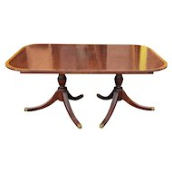 1940s Banded Mahogany Traditional Double Pedestal Dining Room Table w/ 3 Leaves