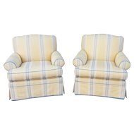 Fine Pair Of Upholstered Living Room Club Armchairs