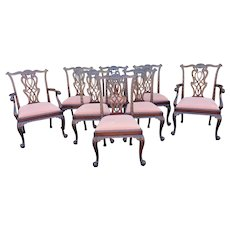 Fantastic Set Of 8 Antique English Centennial Carved Mahogany Chippendale Dining Chairs c.1870-1880