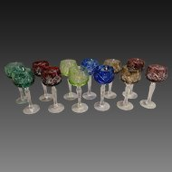 Czechoslovakian Multi-colored Set of 12 Cut Glass Stemmed Cordial Glasses Circa 1930's-40's