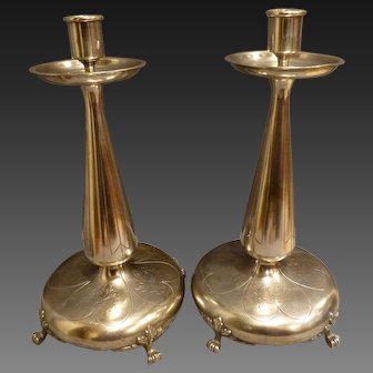 Pair of Signed Pairpoint Art Nouveau style Candle Holders