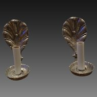 Pair of Single Arm Aluminum Arts & Crafts Style Lightoiler Sconces circa 1910-15