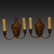 Pair of Shield Back Double Arm French Style Bronze Sconces circa 1920's
