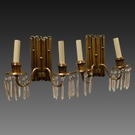 Pair of Brass Double Arm Sconces with Crystals Circa 1920's-30's