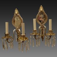Pair of Double Arm Mirror Back Sconces with Crystals circa 1920's-30's