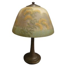 """Handel Reverse Painted 14"""" Goldenrod Floral Table Lamp #6197  circa 1913-15"""