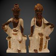 Pair Italian Terra Cotta Asian Figurines Signed Circa 1950's.