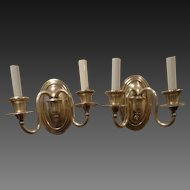 Pair of Double Arm Silver Plate Oval Back Sconces circa 1920's-30's