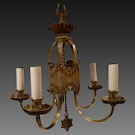American Art Deco Mixed Metal 5 Arm Chandelier Circa 1920's-30's