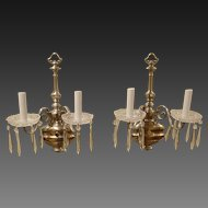 Pair of Vase Form Brass Silver Plated Double Arm Sconces with Crystals, circa 1920's-30's