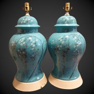 Pair Mid Century Hand Painted Enamel Decorated Table lamps circa 1960's
