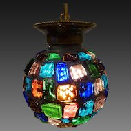 Chunk Glass Hanging Ball Pendant circa 1950's-60's