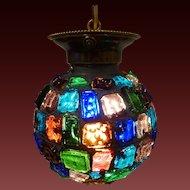 Chunk Glass Hanging Ball Pendant circa 1950's-60's