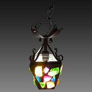 Hall Light Pendant Wrought Iron with Leaded Chunk Glass circa 1953.