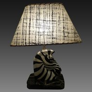 Mid Century Porcelain Zebra Table Lamp Circa 1950's-60's