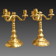 Antique Pair Healey Gold Three Arm Candle Sticks Limoges Signed Rare