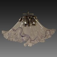 Mid Century Italian Flush Mounted Glass Calla Lily Fixture circa 1940's-60's