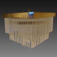 Post Mid Century 3 Tiered  Brass and Glass Rod Hanging Chandelier circa 1970's