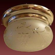 Antique Bradley & Hubbard Silver Plated Brass & Glass Flush Mount Fixture signed, c 1895-1910