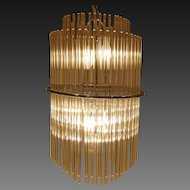 Sciolari Glass Rod and Chrome 6 Light Chandelier/ Pendant circa 1970's