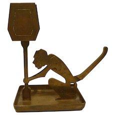 Art Deco Era Brass Figural Cigar Cutter/ Matchbox Holder/Monkey