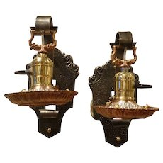 Pair of Mixed Metal Single Arm Sconces,Handel Pairpoint Era, Signed Riddle Co