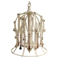 Bell Shaped White Painted  Metal 3 Light Pendant with crystals circa 1960's-70's
