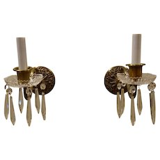 Pair of Brass and Crystal Sconces Circa 1930's-40's