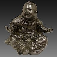 Antique Sitting Buddha Inkwell with Original Brass & Glass Liner