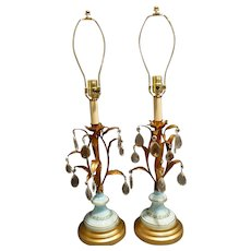 Pair of Italian Tole & Murano Table Lamps with crystals c 1950's