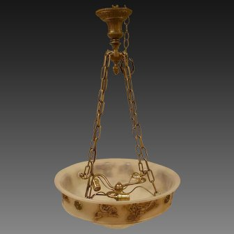 Molded Glass Hanging Bowl Chandelier w/ Roman Chariot Decoration c Early 20c