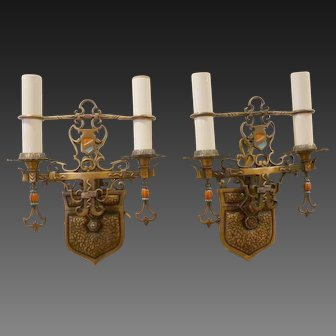 Pair of Art Deco Bronze Double Arm Sconces circa 1915- 1920's