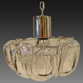 Italian Chrome & Blown Glass 3 Light Pendant Att Sciolari, circa 1975
