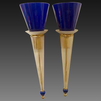 Pair of Large  Murano Glass Sconces, Memphis Style circa 1981-85
