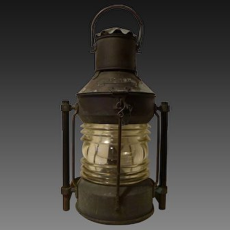 Antique Copper Marine Ships Lantern,Mfg Anchor,C1900-25