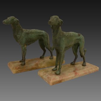 Pair of Art Deco Bookends Russian Wolfhounds on Marble Basas circa 1920's-30's