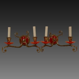 Pair of French Brass  Art Deco Sconces with Red Bakelite circa 1915-40's