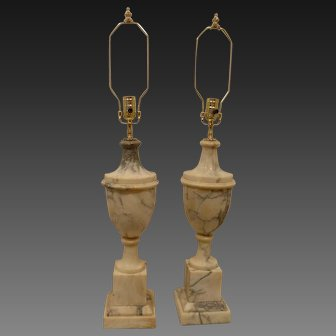 Pair of Vintage Italian Alabaster Urn Form Lamps, Circa 1940's 50's
