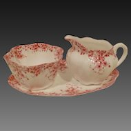 Shelley China Creamer Sugar & Under Tray, Dainty Pink