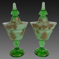 Pair Asian Style Covered Cased Glass Footed Mantle Jars Circa 1930s-50's