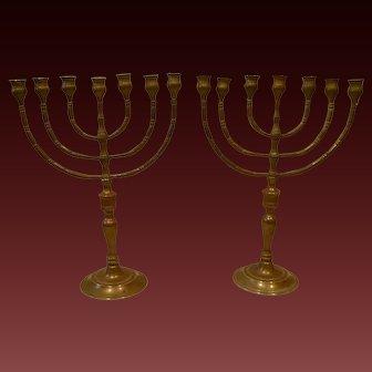 Antique Pair of 7 Light Brass Menorah's circa 1890-1920