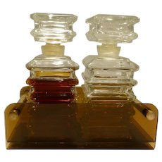 Pair of Aramis Pagoda Style French Decanters In Original Lucite Holder