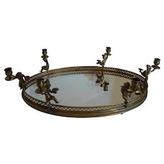 Antique Oval Brass Centerpiece Tray w 6 Cherub Candle Holders & Mirror