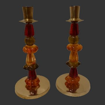 Pair of Memphis Design Group Candle Sticks C 1981-85